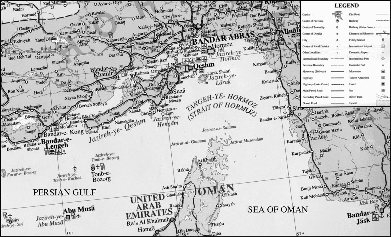 Middle East Map Strait Of Hormuz.Hormuz Ii Islamic Period Encyclopaedia Iranica